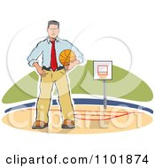Clipart Sketched Basketball Coach Standing On A Court Royalty Free Vector Illustration