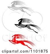 Clipart Red Black And Gray Leaping Horses 2 Royalty Free Vector Illustration