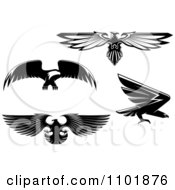 Clipart Silhouetted Eagles 3 Royalty Free Vector Illustration