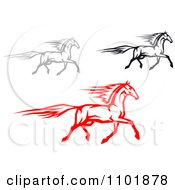 Clipart Red Gray And Black Horses Running 2 Royalty Free Vector Illustration