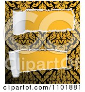 Clipart Two Pieces Of Torn Damask Paper Revealing Solid Yellow Royalty Free Vector Illustration