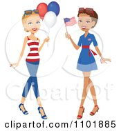 Clipart Caucasian And Black American Women With Party Balloons And A Flag Royalty Free Vector Illustration