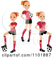 Clipart Blond Female Soccer Player In Three Poses Royalty Free Vector Illustration