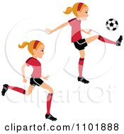 Blond Soccer Girl Player Running And Kicking