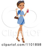 Clipart Stylish African American Or Hispanic Woman Holding A Beverage And Wearing A Blue Dress Royalty Free Vector Illustration