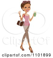 Clipart Stylish African American Or Hispanic Woman Holding A Beverage And Wearing Leggings And A Tank Top Royalty Free Vector Illustration