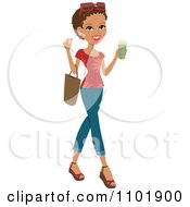 Clipart Stylish African American Or Hispanic Woman Holding A Beverage And Wearing Jeans And A Red Shirt Royalty Free Vector Illustration
