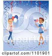 Clipart Hispanic Or African American Woman With A Flag And A Caucasian Woman With Balloons Against A Blue City With Confetti And Streamers Royalty Free Vector Illustration
