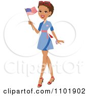 Clipart Patriotic African American Or Hispanic Woman Holding An American Flag And Wearing A Blue Dress Royalty Free Vector Illustration by Monica