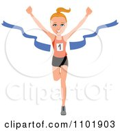 Clipart Fit Healthy Marathon Runner Breaking Through The Finish Line Royalty Free Vector Illustration