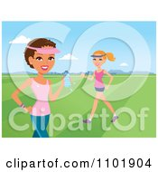 Clipart Beautiful Hispanic And Caucasian Women Exercising In A Park Royalty Free Vector Illustration