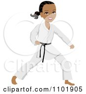 Clipart Strong Black Or Hispanic Karate Woman With A Black Belt Royalty Free Vector Illustration by Monica #COLLC1101905-0132