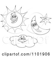 Outlined Happy Sun Crescent Moon Star And Cloud Characters