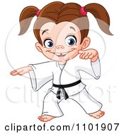 Clipart Happy Karate Girl With A Black Belt Royalty Free Vector Illustration