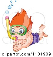 Clipart Snorkel Boy Diving Royalty Free Vector Illustration