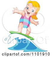 Happy Blond Surfer Girl Riding A Wave