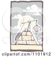 Woodcut Styled Workers Hoisting An Eye Block To The Top Of A Pyramid