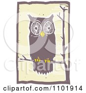 Clipart Woodcut Styled Owl Perched On A Tree Branch Royalty Free Vector Illustration