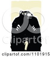 Clipart Woodcut Styled Girl Standing In Front Of A Giant Bear Royalty Free Vector Illustration