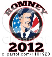 Clipart Republicn American Presidential Candidate Mitt Romney Over Stars And Stripes With 2012 Text Royalty Free Vector Illustration