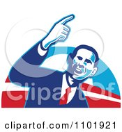 Clipart Barack Obama American President Over Red White And Blue Royalty Free Vector Illustration