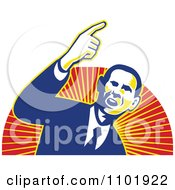 Clipart Barack Obama American President Over Red And Orange Rays Royalty Free Vector Illustration