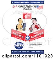 Clipart Republican American Presidential Candidate Mitt Romney And President Barack Obama Boxing Royalty Free Vector Illustration by patrimonio