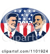 Clipart Retro Styled Republican Politician Mitt Romney And President Barack Obama Over 2012 And Stars And Stripes Royalty Free Vector Illustration by patrimonio
