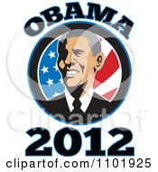 Clipart Barack Obama American President Over Stars And Stripes With Text Royalty Free Vector Illustration by patrimonio