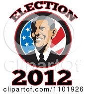 Clipart Barack Obama American President Over Stars And Stripes With Election 2012 Text Royalty Free Vector Illustration