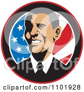 Clipart Barack Obama American President Over Stars And Stripes Royalty Free Vector Illustration