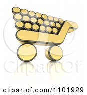 3d Golden Shopping Cart Icon With A Reflection