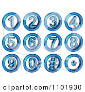 3d Blue Metal Number Buttons