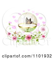 Butterfly In A Sphere Over Hearts And Blossoms On White