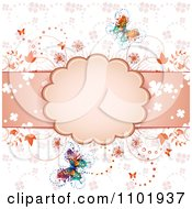 Clipart Spring Butterfly Background With A Pink Frame And Flowers Royalty Free Vector Illustration