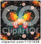 Clipart Ornate Orange Butterfly With A Heart Center Over Clovers On Teal Royalty Free Vector Illustration