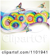 Clipart Spring Butterfly Background With Dewy Rainbow Circles On Beige Royalty Free Vector Illustration