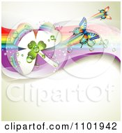 Clipart Spring Butterfly Background With Dewy Clovers And Rainbow Streaks 2 Royalty Free Vector Illustration