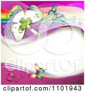 Clipart Spring Butterfly Background With Dewy Clovers And Rainbow Streaks 3 Royalty Free Vector Illustration