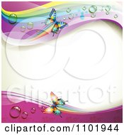 Clipart Spring Butterfly Background With Dew And Rainbows Royalty Free Vector Illustration