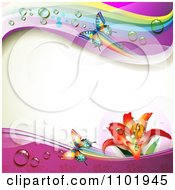 Clipart Spring Butterfly Background With Dewy Rainbows And A Lily Royalty Free Vector Illustration