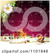 Clipart Butterfly Background With A Blank Banner And Flowers Over A Red Clover Pattern Royalty Free Vector Illustration
