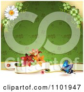 Clipart Butterfly Background With A Blank Banner And Flowers Over A Green Clover Pattern Royalty Free Vector Illustration
