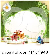 Clipart Butterfly Background With A Blank Banner Vine Frame And Flowers Over Green Royalty Free Vector Illustration