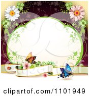 Clipart Butterfly Background With A Blank Banner Vine Frame And Flowers Over Red Royalty Free Vector Illustration