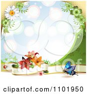 Clipart Butterfly Background With A Blank Banner And Flowers Over Blue Royalty Free Vector Illustration