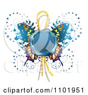 Clipart Blue Wax Butterfly Seal Royalty Free Vector Illustration by merlinul