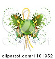 Clipart Green Wax Butterfly Seal Royalty Free Vector Illustration by merlinul