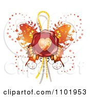 Clipart Red Heart Wax Butterfly Seal Royalty Free Vector Illustration by merlinul