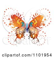 Clipart Ornate Orange Butterfly With Foliage Royalty Free Vector Illustration